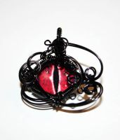 Black Wire Wrap Red Glass Dragon Eye Pendant by Create-A-Pendant