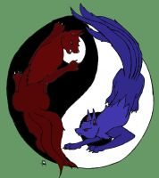 Yin Yang Wolves- Colored by ShadowW0lf