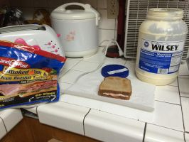 I made ham and turkey sandwich with mayonaise by Magic-Kristina-KW