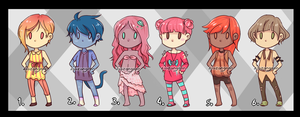 Chibi girl adoptables (TWO LEFT) by Zigzangoon