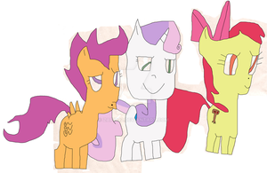 Cutie Mark Crusaders with cutie marks (my vision) by Zap1992
