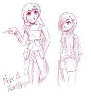 Sketch: Nyx and Nancy by Ribbon-Knight
