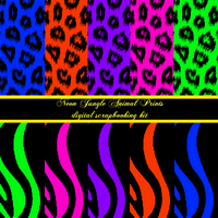 Neon Jungle Animal Print Stock by GothicToggs