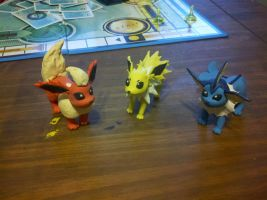 Jolteon, Flareon, and Vaporeon by mailboxbroussard