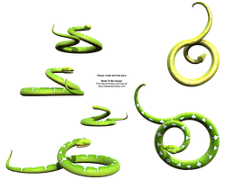 Curled up Green Python Snake by madetobeunique