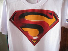 hand-painted superman shirt by alphadikei