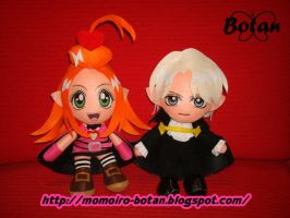 chibi Chocola and Pierre plush version by Momoiro-Botan
