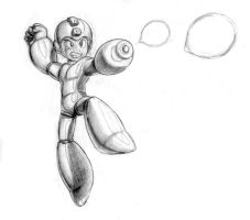 Mega Man jump sketch by theRedRage