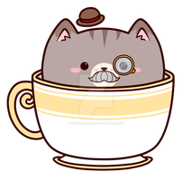 Earl Grey Tea Kitty _ Charm Design by pinkplaidrobot