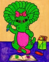 Baby Bop Colors Her Picture by BestBarneyFan