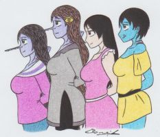 FA: Aurore, Me, Sarah and Leanna by Alicetiger