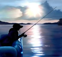Fishing at Dusk by Ellee22