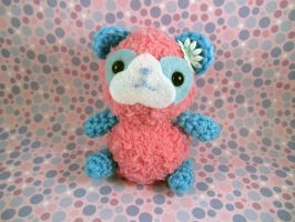 Pink - Blue Fluffy Panda Bear by AmiTownCreatures