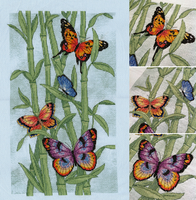 Vibrant Butterflies on Bamboo by pinkythepink
