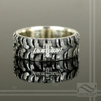 Mens Chevy Tire Tread Ring with CZ by mooredesign13