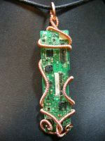 wrapped copper circuit pendant by BacktoEarthCreations