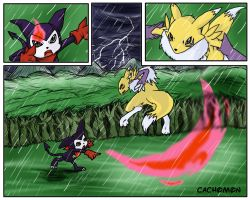 Renamon VS Impmon by Cachomon