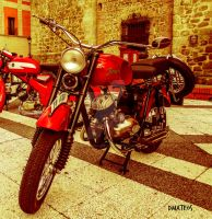 Classic Red Motorcycle. by dmateoscontact