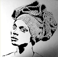 Woman in a Turban - finished stencil by writerbryce1980