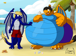 Commission: Dragons at beach! by soul-silver-dragon