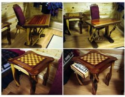 Drawing and chess table by Jonsama