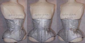 Silver steel fan lacing underbust corset by AtelierSylpheCorsets