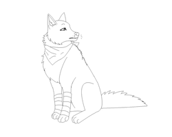 Wolf Sitting Lineart by Arkay9