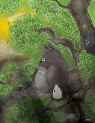 totoro in the night by felicia-lim