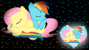 Rainbow Dash x Fluttershy Wallpaper by BlueDragonHans