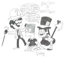 Bartman and the Nerd twins by komi114