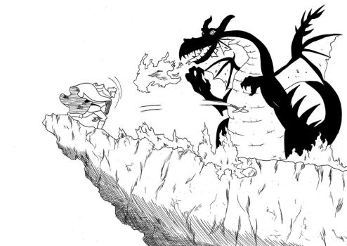 the prince vs maleficent dragon form ink drawing by Harryboy755