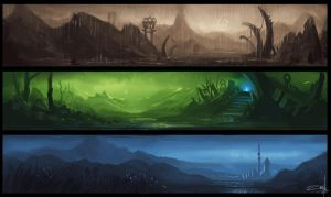 Environment sketches by Zoriy