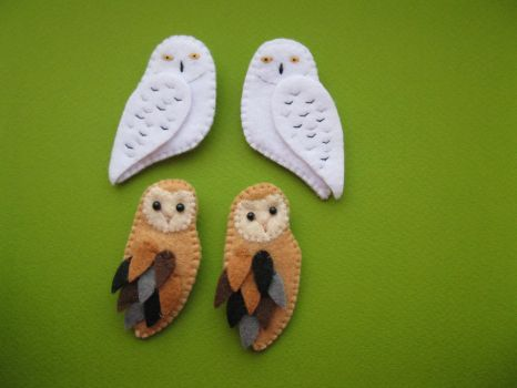 snow owl + barn owl by K0yomy