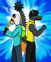 Finn the Phox and Jake dragon by GinoPinoy