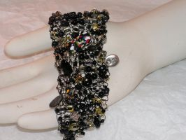 Midnight - Hand Knitted Wire Bracelet by nightowl2704