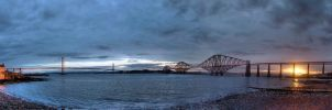 Forth Bridge Sunrise Panorama by Spyder-art