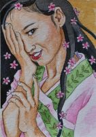 Japanese Spring Goddess ATC by waughtercolors