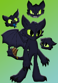 Anthro-ish Toothless by Doomdrao