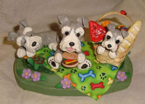 Schnauzer Picnic by ErinsK9Collectibles