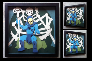 Commission:  Skeletor Shadowbox by The-Paper-Pony