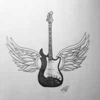 Guitar with Wings by GothianaVampet