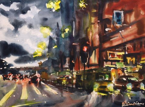 Midnight Drive in the Storm by ElaineChiu