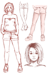 lil leg and face practice by TheAngelCookie