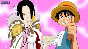 Luffy and Boa Hancock by xerxex