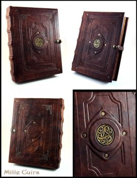 Celtic Triskell Leather Book by MilleCuirs