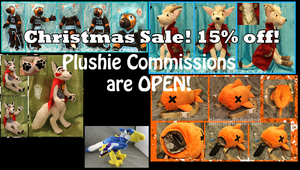 Plushie Commissions Open: CHRISTMAS DISCOUNT SALE! by BlueWolfCheetah
