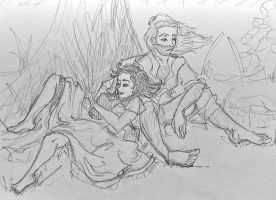 Claire and Jamie - Rest by the Tree by linzo-brummba