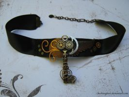 Cresent Key Steampunk Choker by CheshireGhost