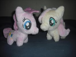 Fluttershy and Pinkie Pie Chibi Plush by SecludedOtaku