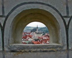Cesky Krumlov Church Window by Kseek